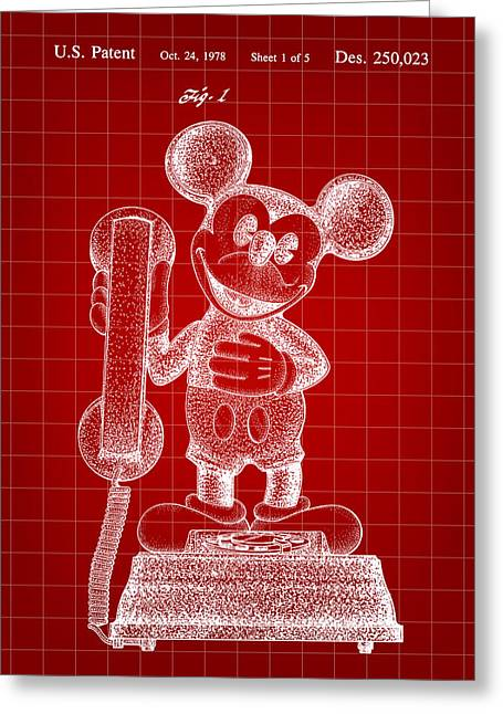 Mickey Mouse Telephone Patent 1978 - Red Greeting Card