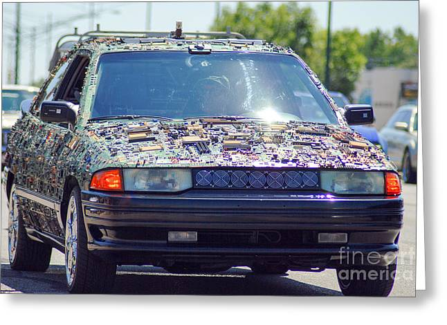 Micro Chip Car Greeting Card by Optical Playground By MP Ray