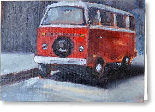 Microbus Greeting Card by Lindsay Frost