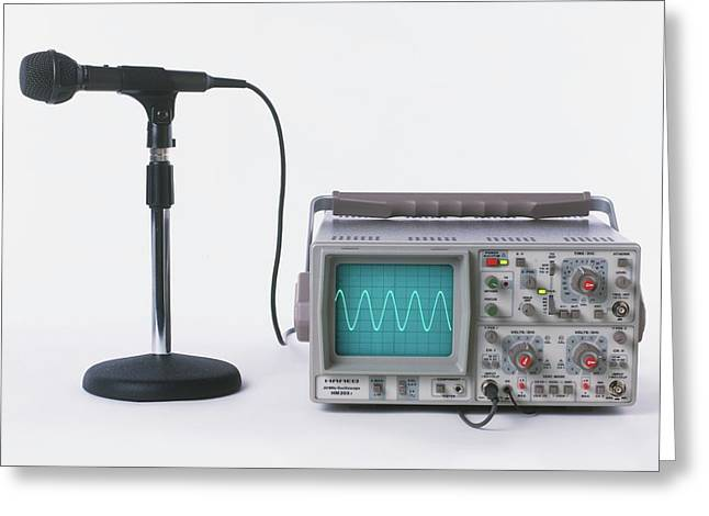 Microphone Connected To Oscilloscope Greeting Card by Dorling Kindersley/uig