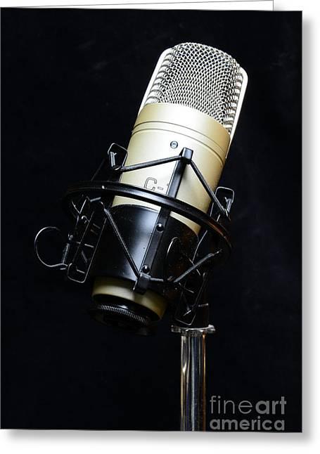 Microphone Greeting Card by Paul Ward