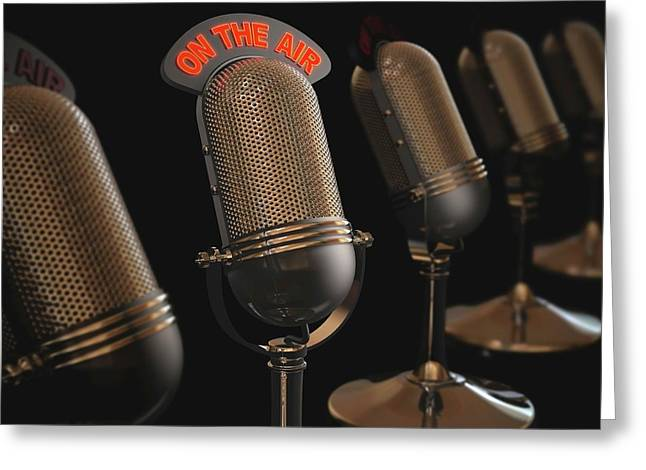 Microphones Greeting Card by Ktsdesign/science Photo Library