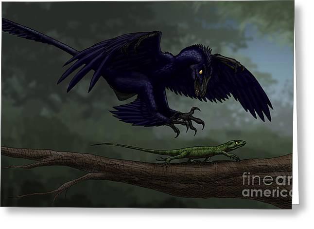 Microraptor Hunting A Small Lizard Greeting Card by Vitor Silva