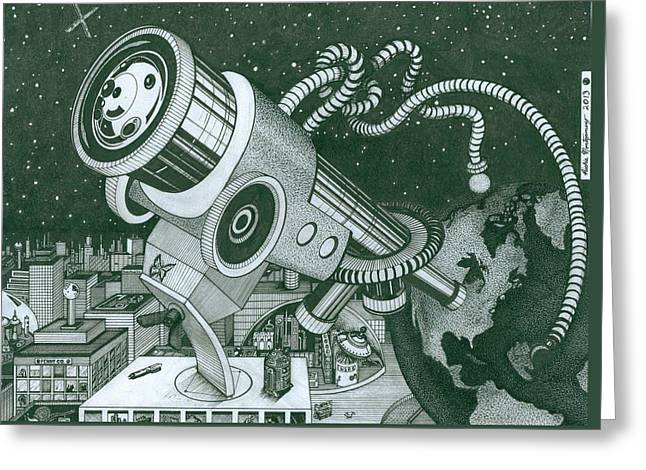 Microscope Or Telescope Greeting Card by Richie Montgomery