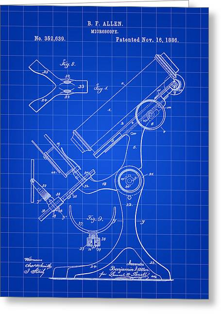 Microscope Patent 1886 - Blue Greeting Card by Stephen Younts