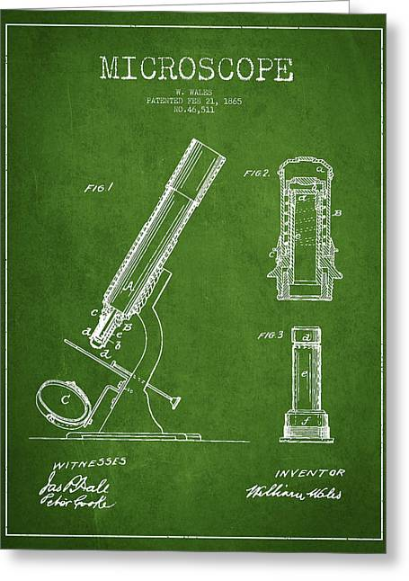 Microscope Patent Drawing From 1865 - Green Greeting Card