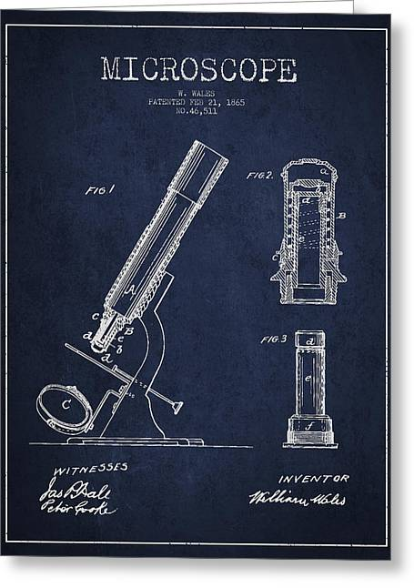 Microscope Patent Drawing From 1865 - Navy Blue Greeting Card