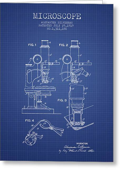 Microscope Patent From 1919 - Blueprint Greeting Card