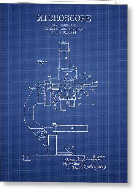 Microscope Patent From 1931 - Blueprint Greeting Card