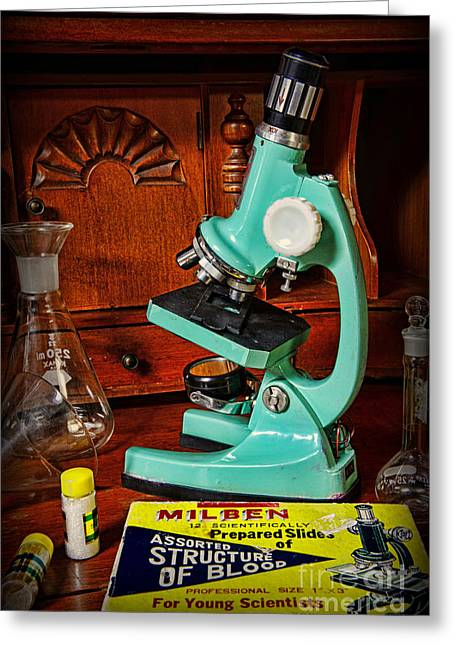Microscope The Young Scientist Greeting Card by Paul Ward