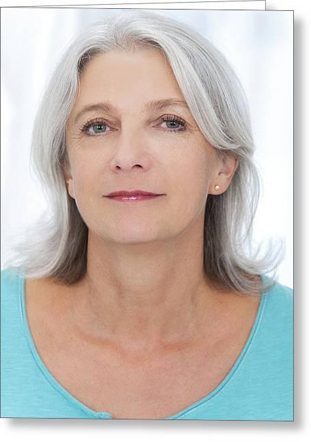 Mid Adult Woman Looking At Camera Greeting Card