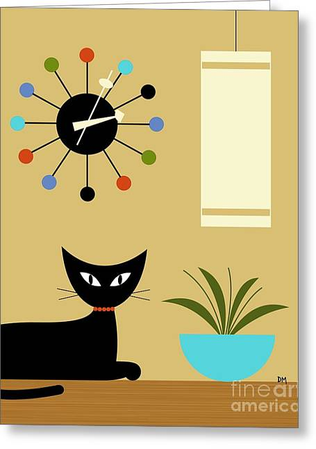 Greeting Card featuring the digital art Mid Century Ball Clock 2 by Donna Mibus