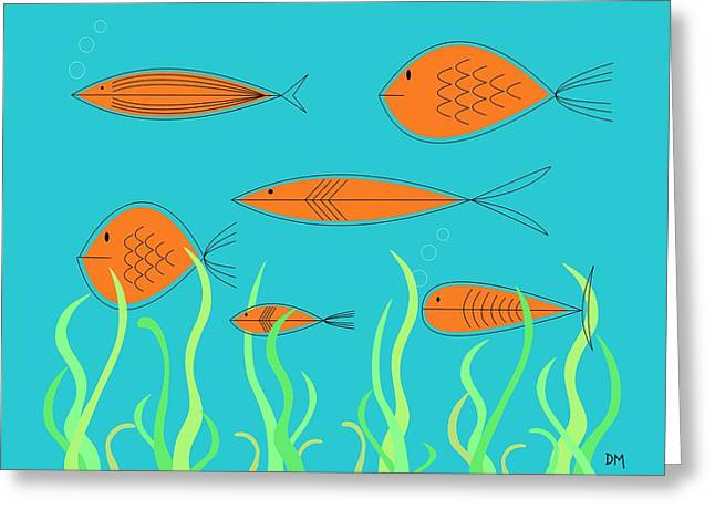 Greeting Card featuring the digital art Mid Century Fish 2 by Donna Mibus