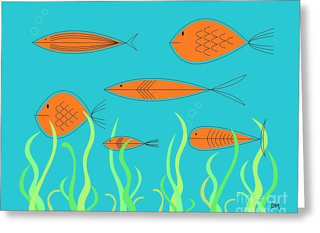 Mid Century Fish 2 Greeting Card