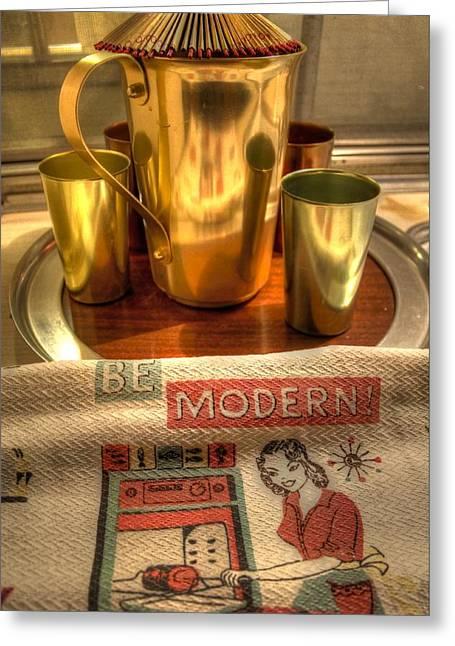 Mid Century Modern  Greeting Card by Jane Linders
