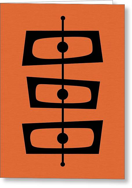 Greeting Card featuring the digital art Mid Century Shapes On Orange by Donna Mibus