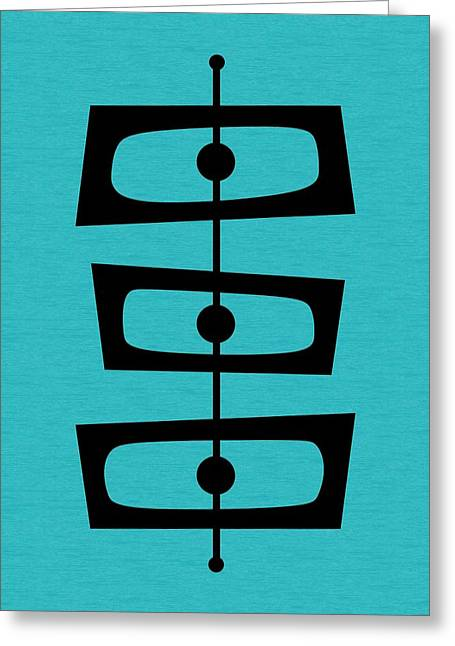 Mid Century Shapes On Turquoise Greeting Card