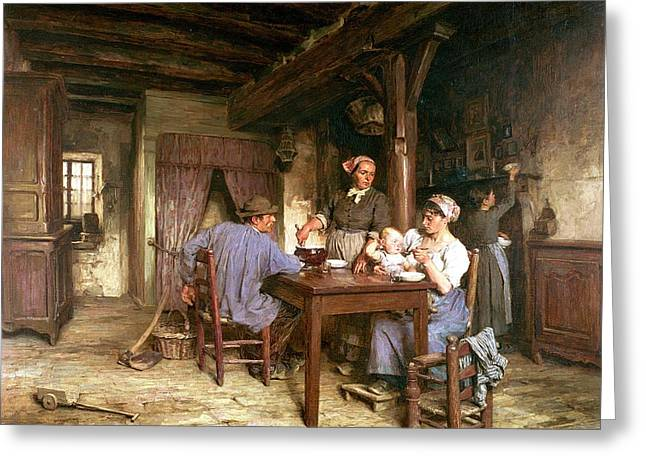 Midday Meal Greeting Card by Leon Augustin Lhermitte