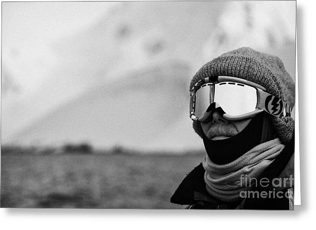 Middle Aged Man Wrapped Up Against The Cold On Expedition In Port Lockroy Antarctica Greeting Card by Joe Fox