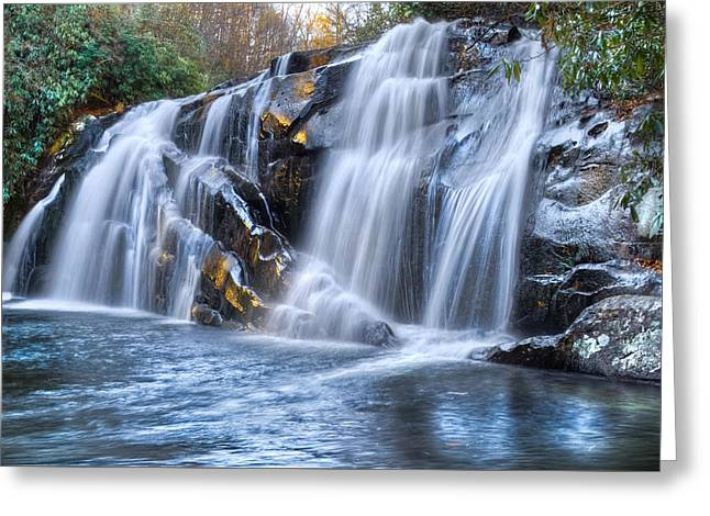 Middle Falls At Snowbird Creek Greeting Card by Debra and Dave Vanderlaan