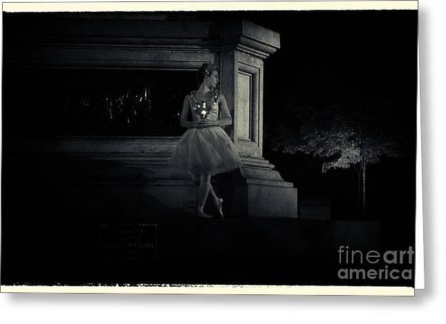 Midnight Ballerina New York City Greeting Card by Sabine Jacobs