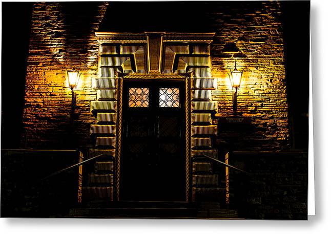 Greeting Card featuring the photograph Midnight Entryway by Rhys Arithson
