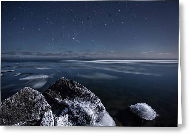 Midnight Freeze At Silver Harbour Greeting Card