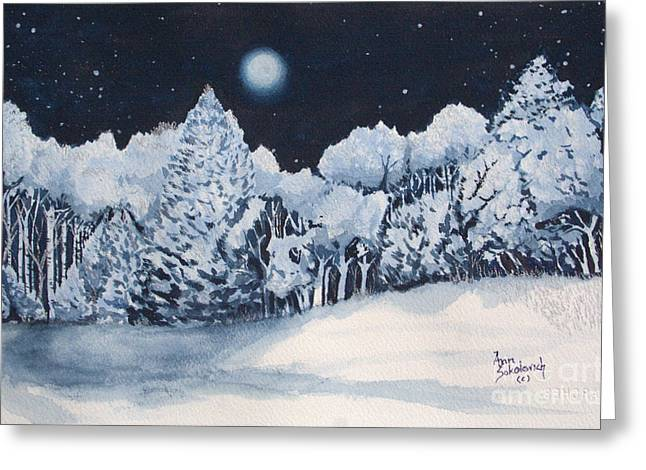 Midnight Frost Greeting Card by Ann Sokolovich