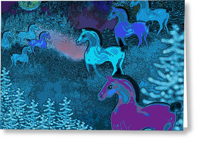 Midnight Horses Greeting Card