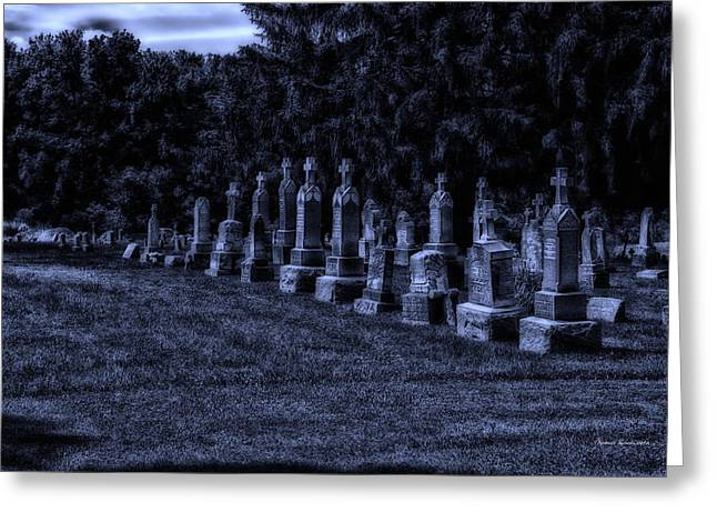 Midnight In The Garden Of Stones Greeting Card by Thomas Woolworth