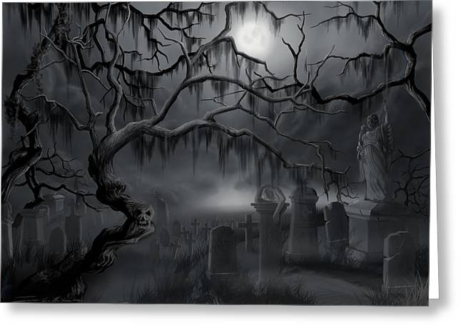 Midnight In The Graveyard  Greeting Card by James Christopher Hill
