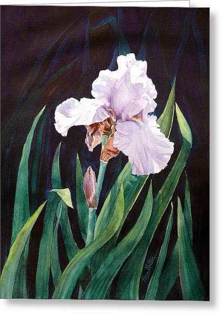 Greeting Card featuring the painting Midnight Iris by Karen Mattson