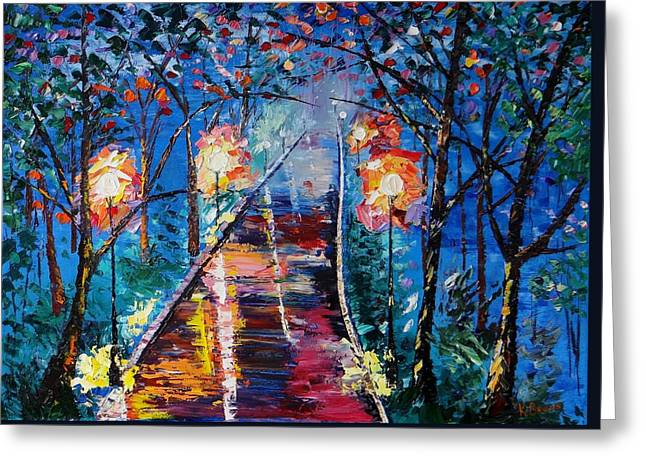 Midnight Lights Greeting Card by Kevin  Brown