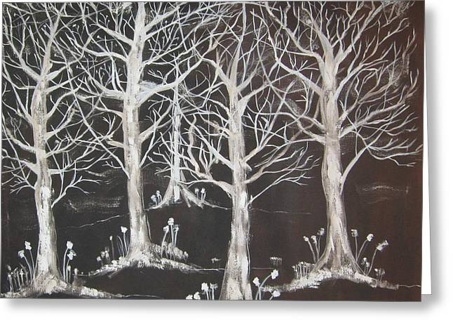 Midnight Mystery Forest Greeting Card by Diane Pape