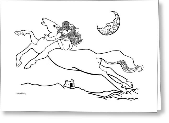 Midnight On Horseback Greeting Card by Ch' Brown