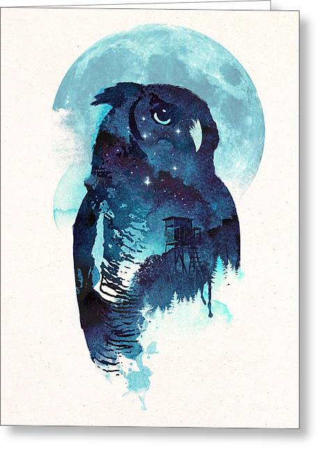 Midnight Owl Greeting Card by Robert Farkas