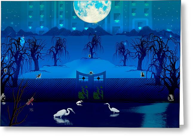 Midnight Pixie Party Greeting Card by Teri Schuster