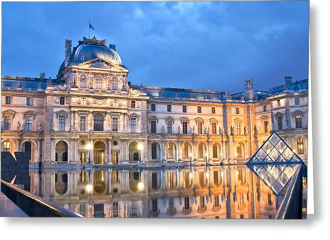 Midnight Reflection At The Louvre Greeting Card