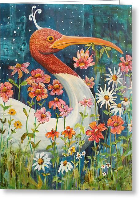 Midnight Stork Walk Greeting Card by Blenda Studio