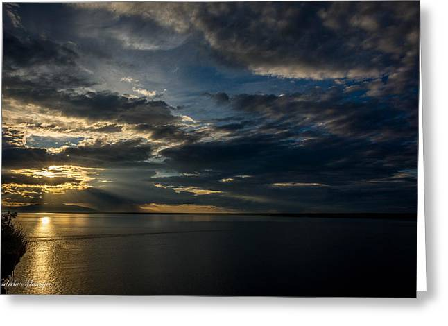 Midnight Sun Over Cook Inlet Greeting Card by Andrew Matwijec