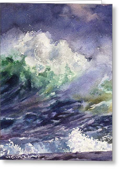 Midnight Surf Greeting Card by Anne Gifford