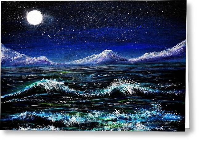 Midnight Waters Greeting Card by Ann Marie Bone