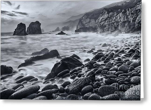 Midnight Waves - Soberanes Point In Garrapata State Park In California Black And White. Greeting Card by Jamie Pham