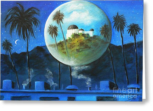 Greeting Card featuring the painting Midnights Dream In Los Feliz by S G