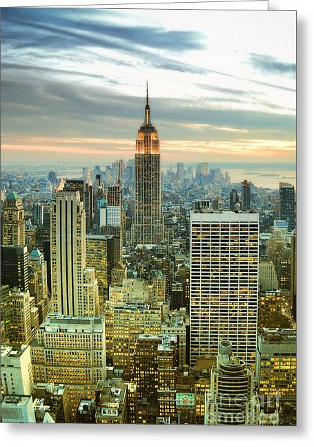 Midtown Manhattan And Empire State Building New York City Greeting Card by Sabine Jacobs