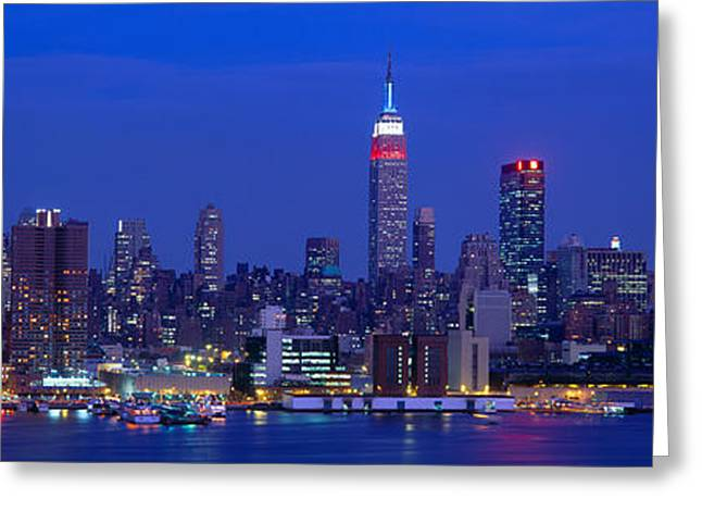 Midtown Manhattan From Nj, Night, New Greeting Card by Panoramic Images
