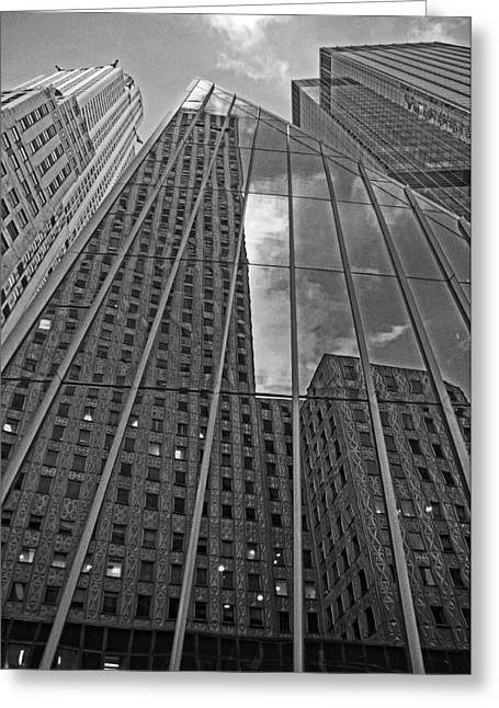 Midtown Reflections Greeting Card by Mike Martin