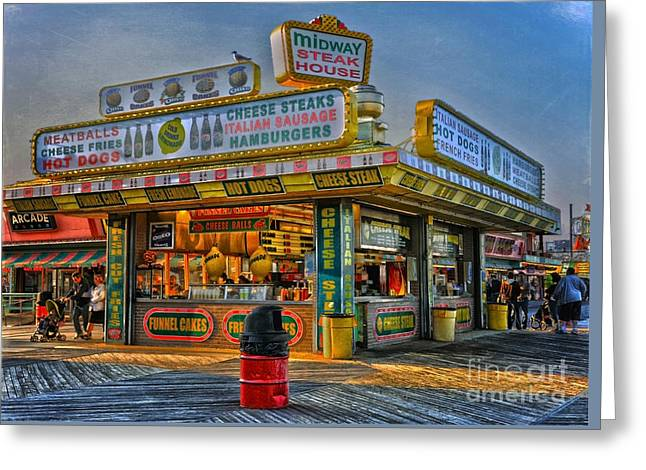 Greeting Card featuring the photograph Midway Steak House by Debra Fedchin