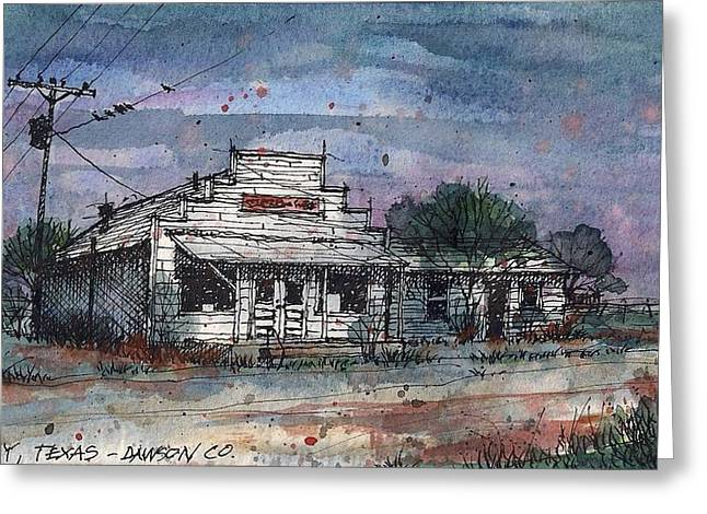 Greeting Card featuring the mixed media Midway Texas Grocery by Tim Oliver