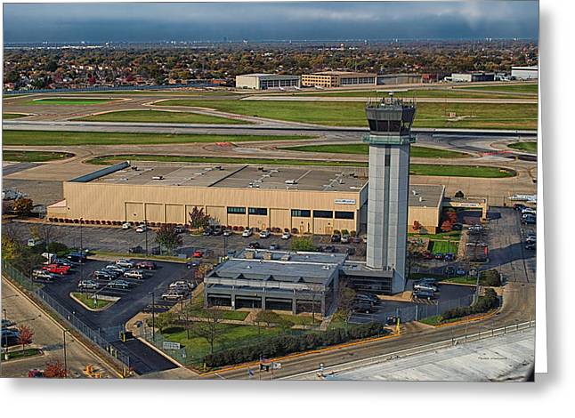 Midway Tower Chicago Airplanes 05 Greeting Card